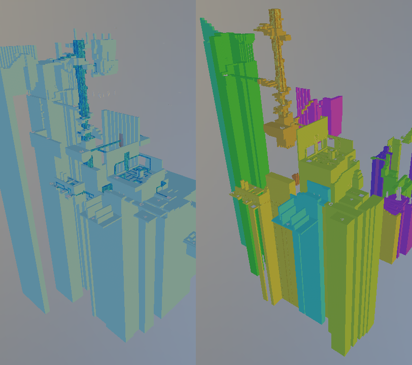 Left - an example of the hard to work with monolithic world. Right - same area but in the modular world.